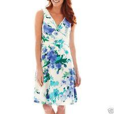 Liz Claiborne- Sleeveless Floral Print Dress  , Size : 8 , Ivory floral