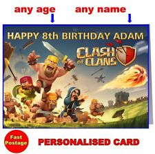Personalised CLASH OF CLANS - BIRTHDAY or CHRISTMAS CARD any name age son gift