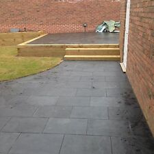 Natural  Black Slate Paving Garden Patio Slabs 5m2 600x400mm 15 to 20mm Thick
