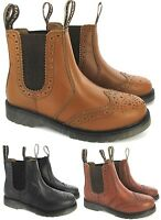 MENS LEATHER SLIP PULL ON CHELSEA DEALER BROGUE ANKLE SMART MLB WORK BOOTS SIZE