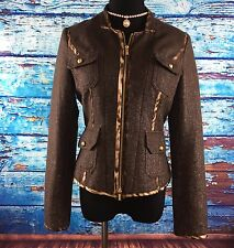 Cache Womens Brown Metallic Jacket Blazer Slim Fit Shimmer Party Evening Sz 4