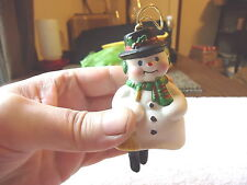 "Vintage Snow Man With Dangling Legs Bell  / Ornament "" BEAUTIFUL COLLECTIBLE ITE"