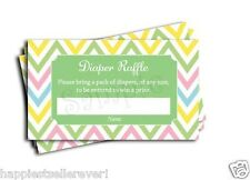50 Pink Blue Green Chevron Diaper Raffle Ticket baby shower game lottery Neutral