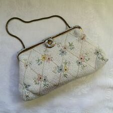 VTG BIRKS Floral Micro Bead Evening Bag Purse Made In France
