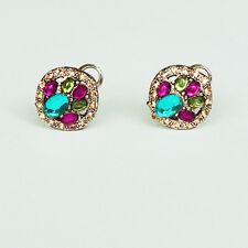 Boucle d`Oreille Clip Vintage Multicolore Jaune Violet Super Mignonne Cadeau J4
