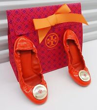 TORY BURCH REVA rare ORANGE vintage LEATHER MEDALLION BALLET FLATS SZ 7.5