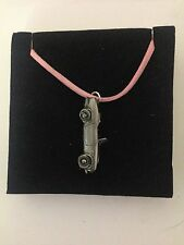 Honda S800 ref97 Pewter Effect Car on a Pink Cord Necklace Handmade 41CM