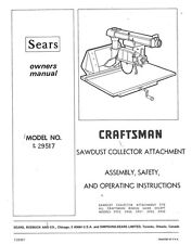 1974 Craftsman 9-29517  Radial Arm Saw-Dust Collector Attachment Instructions