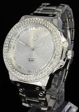 Techno Pave CZ Stone 2 Row Bezel Silver Tone Metal Mens Bling Analog Watch