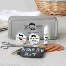 Mo Bro's Grooming Tin Gift Set - 6 Pcs Inc Balm, Wax, Oil, Comb- Vanilla & Mango