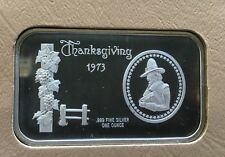 1973 Thanksgiving 1 Troy Oz. .999 Fine Pure Silver Bar Rare Collectible Art Bar