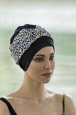 Fashy Animal Print Swim Turban Swimming Hat Bathing Cap Black Gold White