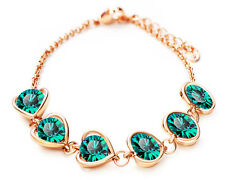 Elegant Gold & Crystal Emerald Green Heart Charms Rhinestones Bracelet BB139