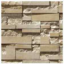 Wallpaper Brick STONE Natural Colour Slate outdoor rustic look Grey Sand Rock