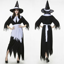 Halloween Women Witch Costume Irregular Long Dress Hat Game Cosplay Party Adult