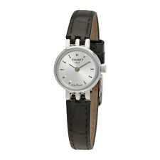 Tissot T-Lady Lovely Silver Dial Black Leather Ladies Watch T0580091603100