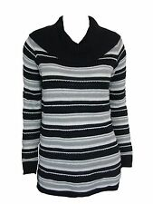 Charter Club Women's Petite Striped Cowl Nk Pull Over Sweater Black Cmb PS