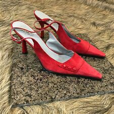 BC BG Paris Sz 9 B Red Suede Leather Slingback Pointed Toe Cute Heels