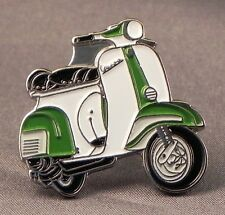 Metal Enamel Pin Badge Brooch Vespa Scooter Motorbike Biker Rider Green & White