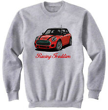 MINI COOPER RED INSPIRED RACING - NEW COTTON GREY SWEATSHIRT ALL SIZES IN STOCK