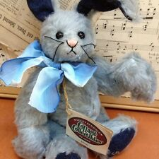 """GANZ Cottage Collectibles MIMI blue jointed """"mohair"""" BUNNY Sue Coe 1999 CARROT"""