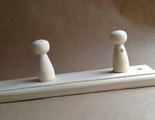 PINE WOODEN COAT RACK - 3 PEGS/HOOKS - LEAVE AS IS OR PAINT IT YOURSELF