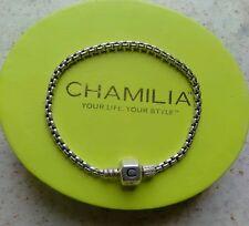 Genuine Chamilia silver 925 oyster clasp box chain charm bracelet 18cm in box