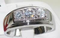 WOMENS OR MENS 3STONE CLASSY SIGNET SIMULTED DIAMOND RING 3.25CT STAINLESS STEEL