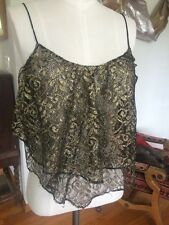 Ecote Urban Outfitters sheer Metallic Gold Fishnet Dolce Lace Cami Top S