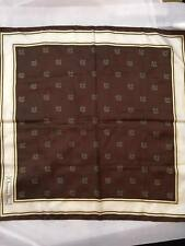 Vintage CHRISTIAN DIOR 100% Silk Scarf in Brown & ivory Squared 26''x 26''
