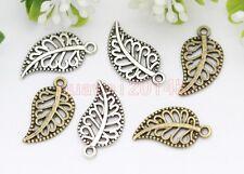 Lot 50pcs Antique Silver/Bronze maple leaf Fit DIY Making Charm Pendant 18x10mm