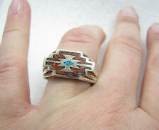 Vintage Southwest Signed Turquoise & Coral Mosaic Inlay Sterling Silver Ring 11