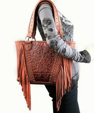 Trinity Ranch® Concealed Carry Tooled Leather Western Fringe Purse Brown Handbag