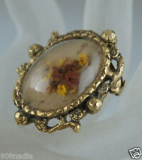 VINTAGE BRASS BUBBLE BROOCH/ PIN W/ DRY FLOWERS