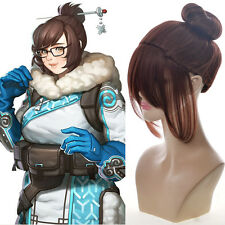 Overwatch Mei Drag Queen Cosplay Wig Short Big Updo Hairdo Dark Brown Wig