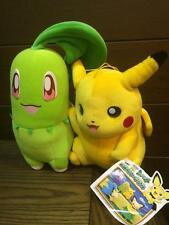 Chikorita & Pikachu Double DX Joint Banpresto Japan Prize Pokemon Plush bayleef