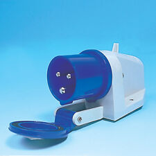 BLUE SURFACE MOUNTED MAINS INLET FOR HOOK UP, CAMPING, CARAVAN, MOTORHOME,