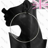 LARGE HOOP EARRINGS thin metal BIG HOOPS 12cm/10cm/9cm FASHION GOLD/BLACK/SILVER