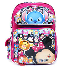 Disney Tsum Tsum School Backpack 16in Large Book Bag Pink AOP Minnie Mouse