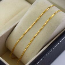 "24K Yellow Gold Filled Necklace 24""chain Slim Curb Link GF Charm Fashion Jewelry"