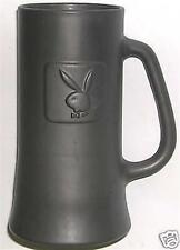 BEER DRINKING MUG GLASS PLAYBOY BUNNY TALL GRAY FROSTED