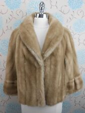 Vintage Ladies Patel Blonde Mink Faux Fur Rockabilly Cape Shrug Wrap Open Size