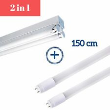 5ft Double LED T8 Fluorescent Tube Light Fitting with tube - Cool White 6000K