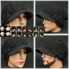 Visor Beanie LUX CHARCOAL Rasta Skull Knit Cap Hat Ear warmer Dreadlock EarFlap