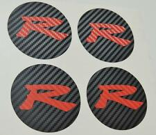 Honda 4 x Carbon Centre Cap Red Carbon R Sticker Decal Accord CL7 Type S K20 JDM