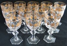 ANTIQUE SET 12 CUT CRYSTAL GOBLETS GOLD VINE ENCRUSTED MOSER BOHEMIAN OR FRENCH