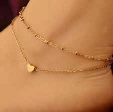 Beach Simple Gold Love Heart Pendant Ankle Bracelet Double Layer Sexy Foot Chain