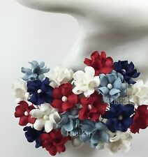 25 Red White Blue Mix 4th of July Paper Flower Scrapbook Wedding Crafts ZS15-835