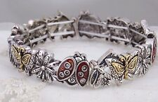 Silver Gold Red Ladybug Flower Butterfly Stretch Bracelet Fashion Jewelry NEW