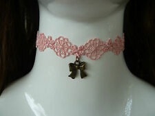 PINK LACE Choker/necklace. Vintage-Retro-Goth-Emo.Fancy Dress.Wedding Party A553